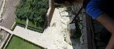 Schwindelerregender Blick hinunter vom 'Hanging Monastery' in der Nähe von Datong